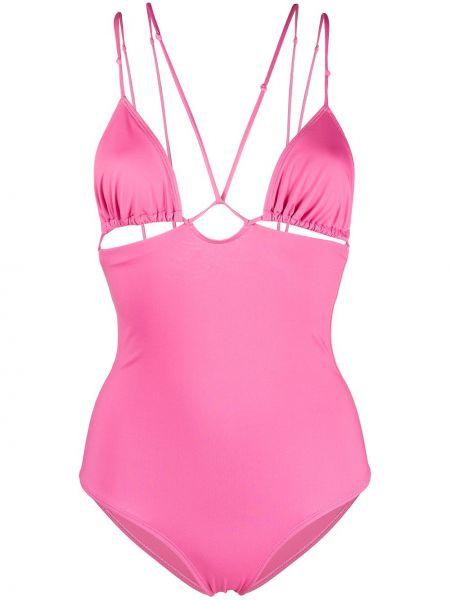 Otwarty różowy strój kąpielowy z falbankami Jacquemus