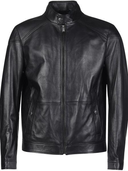 Кожаная куртка из полиэстера - черная Hugo Boss