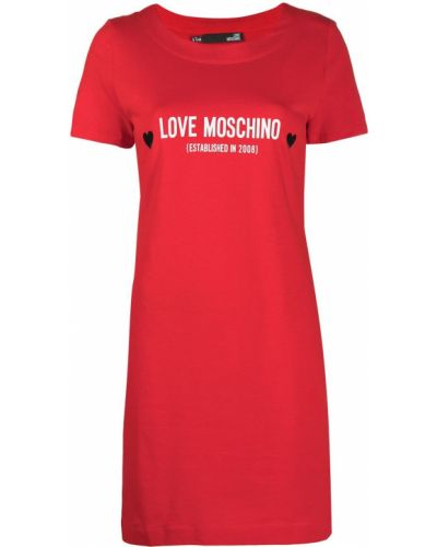 Прямое с рукавами красное платье-рубашка Love Moschino