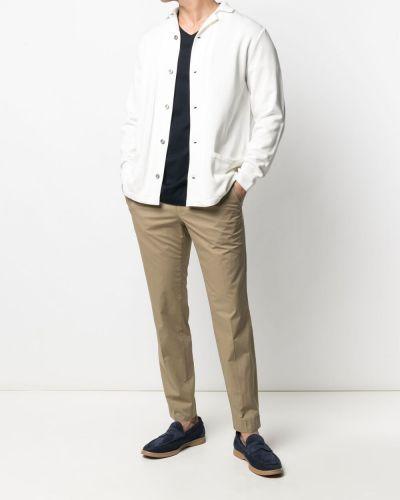 Biały kardigan z długimi rękawami bawełniany Lardini