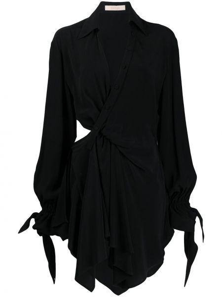 Черное классическое платье на пуговицах с воротником Ssheena