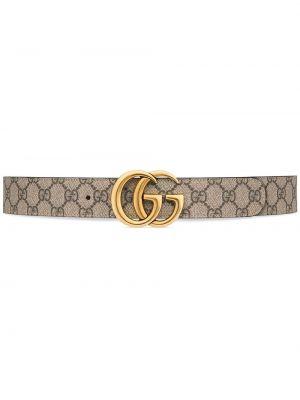 Pasek skórzany - beżowy Gucci