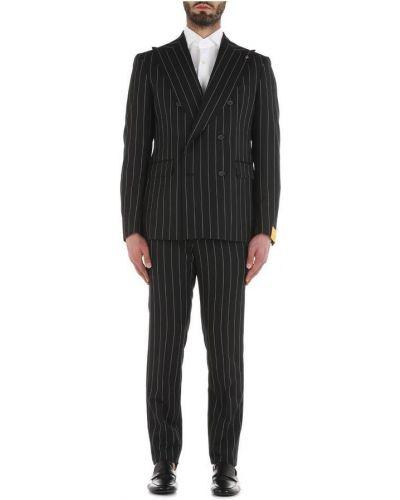 Czarny garnitur dwurzędowy w paski z długimi rękawami Tagliatore