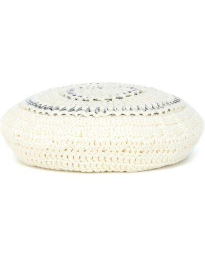 Biały beret bawełniany Ganni