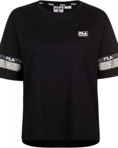 Хлопковая свободная черная спортивная футболка свободного кроя Fila