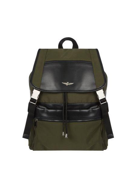 Zielony torba na ramię w paski z nylonu Aeronautica Militare