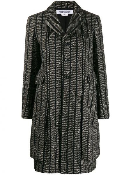 Шерстяное черное длинное пальто с капюшоном Comme Des Garçons Comme Des Garçons