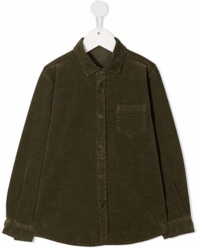 Зеленая классическая рубашка вельветовая с воротником Il Gufo