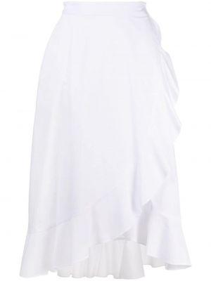 С завышенной талией белая юбка миди с запахом Pinko