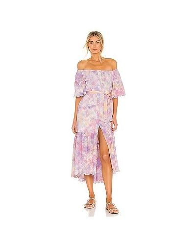 Хлопковое фиолетовое платье миди с вырезом Sundress