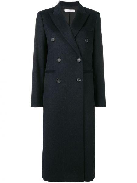 Шерстяное черное пальто классическое с капюшоном Victoria Beckham