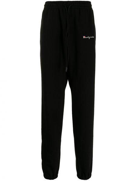 Czarne spodnie bawełniane z haftem Readymade