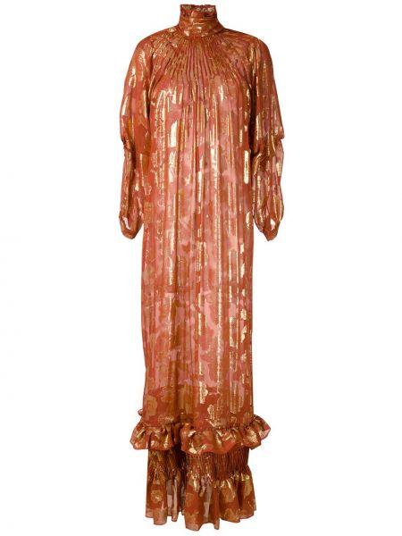 Коричневое шелковое с рукавами платье макси À La Garçonne