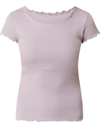 Fioletowy t-shirt bawełniany z falbanami Review