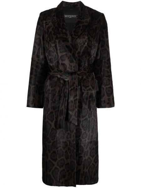 С рукавами коричневое длинное пальто с лацканами Simonetta Ravizza