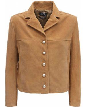 Замшевый коричневый пиджак с карманами с лацканами A.p.c.