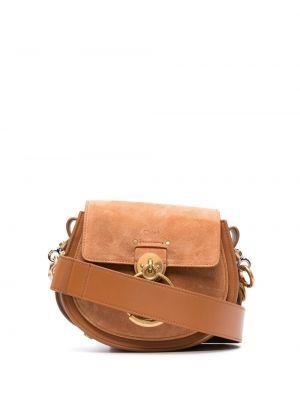 Коричневая кожаная сумка на плечо с карманами Chloé