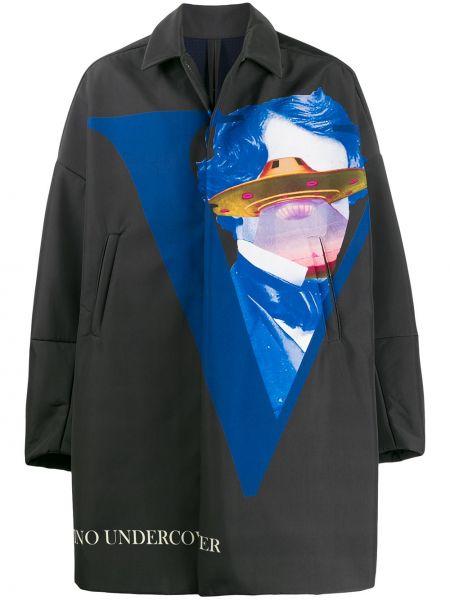 Czarny płaszcz z długimi rękawami z printem Undercover