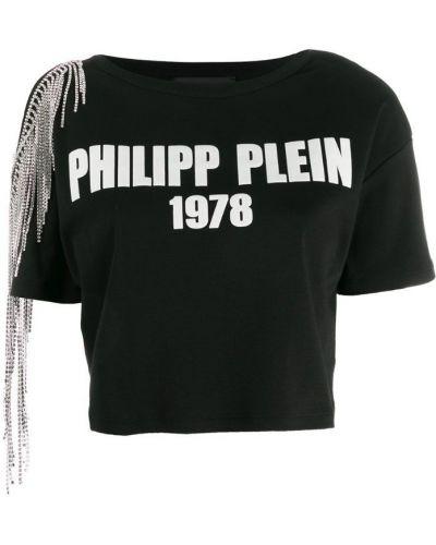 Футболка с открытыми плечами черная Philipp Plein