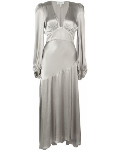 Платье макси серое с V-образным вырезом Shona Joy