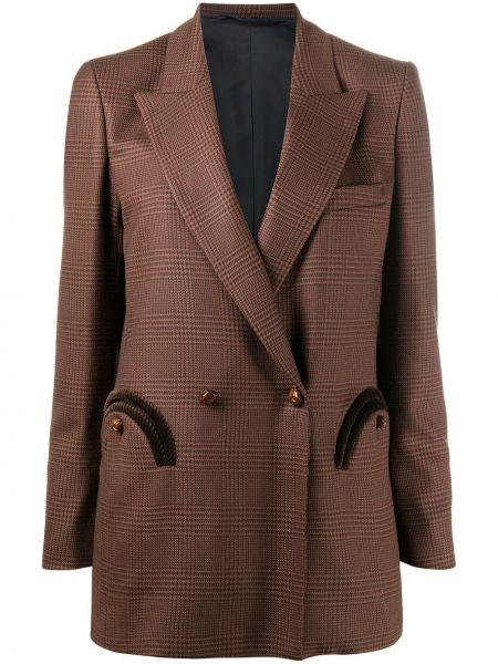 Шерстяной коричневый пиджак с карманами с лацканами Blazé Milano