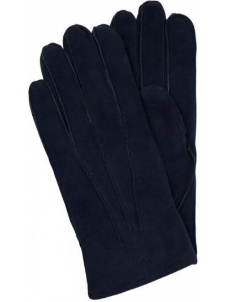 Niebieskie rękawiczki skorzane Gant