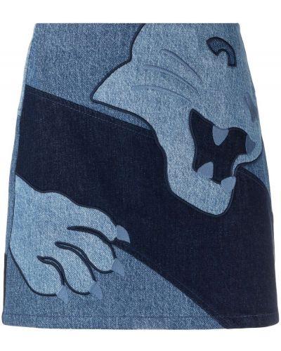 С завышенной талией синяя прямая джинсовая юбка Krizia