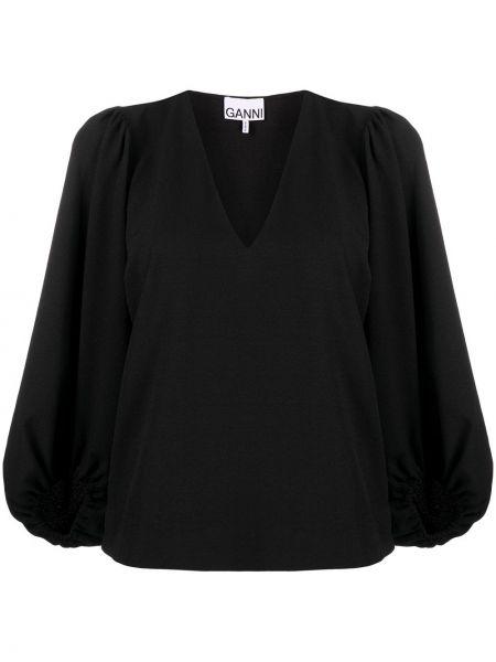 Блузка с вырезом - черная Ganni