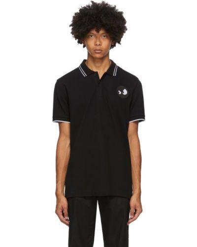 Czarny koszulka polo krótkie rękawy z kołnierzem z mankietami Mcq Alexander Mcqueen