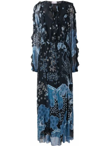 Шелковое синее платье макси с длинными рукавами Red Valentino