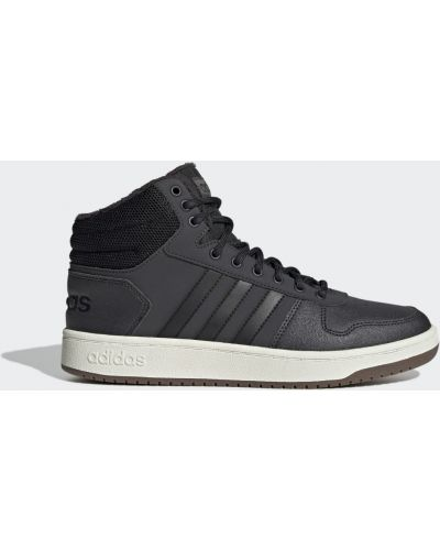Высокие кроссовки с мехом - черные Adidas