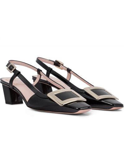 Черные кожаные туфли-лодочки Roger Vivier