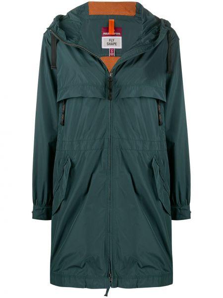Зеленая длинное пальто с капюшоном на молнии Parajumpers