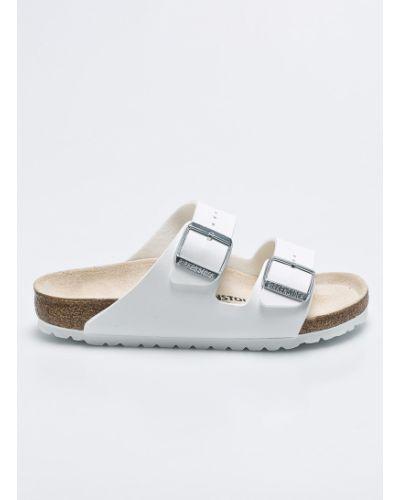 Białe sandały skorzane na obcasie Birkenstock