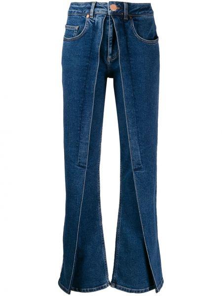 Niebieskie jeansy skorzane rozkloszowane Aalto