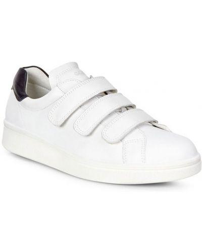 Кеды белые на липучках Ecco