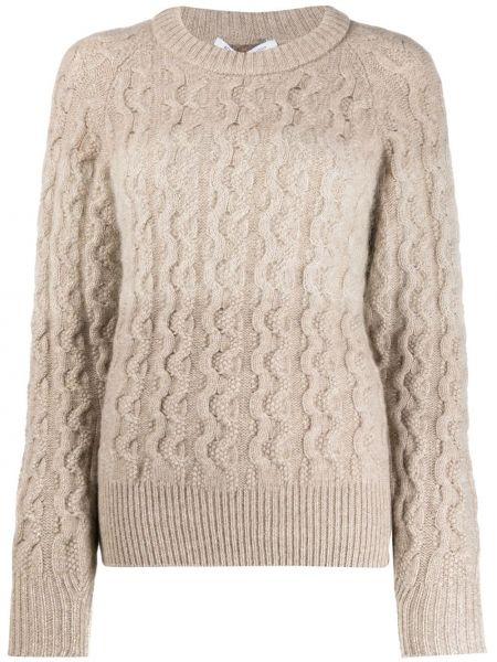 Кашемировый пуловер круглый в рубчик с вырезом Agnona