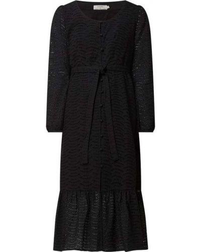 Sukienka koronkowa z falbanami - czarna Cream
