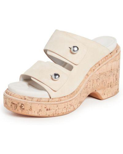 Sandały skórzane na obcasie - beżowe Rag & Bone