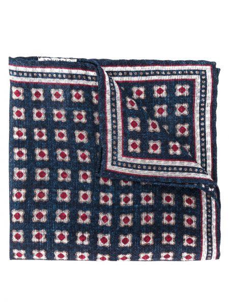 Платок синий с вышивкой Brunello Cucinelli