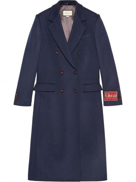 Prosto wełniany długi płaszcz z kieszeniami z długimi rękawami Gucci