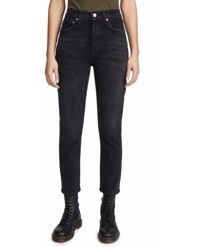Czarne jeansy z wysokim stanem bawełniane Agolde