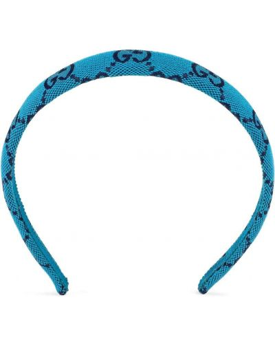 Niebieskie opaska do włosów z printem Gucci