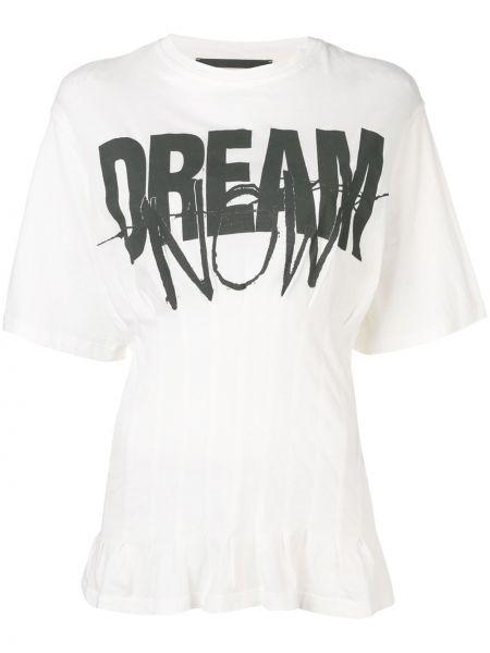 Хлопковая белая приталенная футболка с круглым вырезом Haider Ackermann