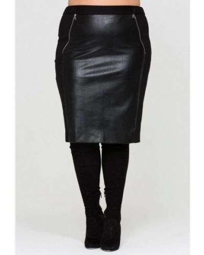 Кожаная юбка черная Intikoma