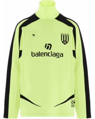 Czarny długi sweter oversize z printem Balenciaga