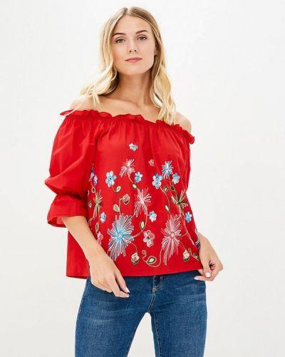 Блузка с открытыми плечами красная весенний Qed London