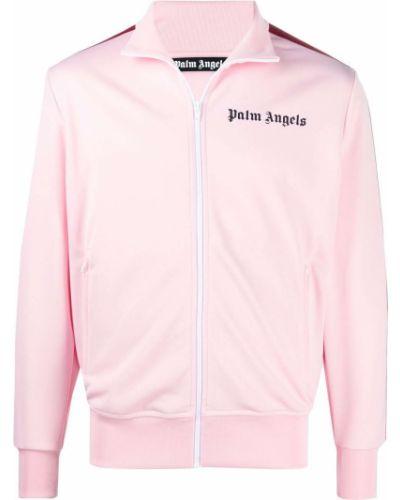 Różowa długa kurtka w paski z długimi rękawami Palm Angels