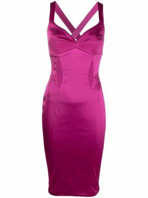 Prążkowana różowa sukienka midi Murmur