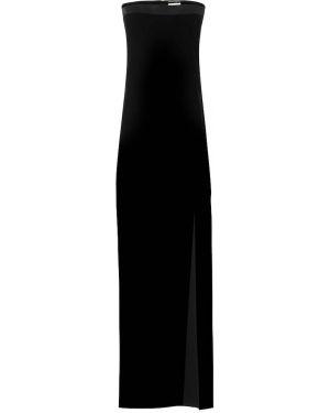 Черное бархатное платье без бретелек Saint Laurent